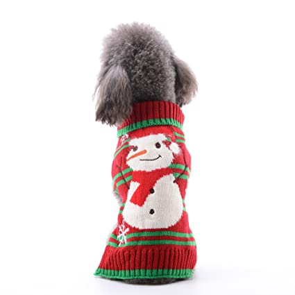 petcare pet dog sweater snowman dog clothes small medium large dogs holiday christmas warm turtleneck sweaters - Large Dog Christmas Sweaters