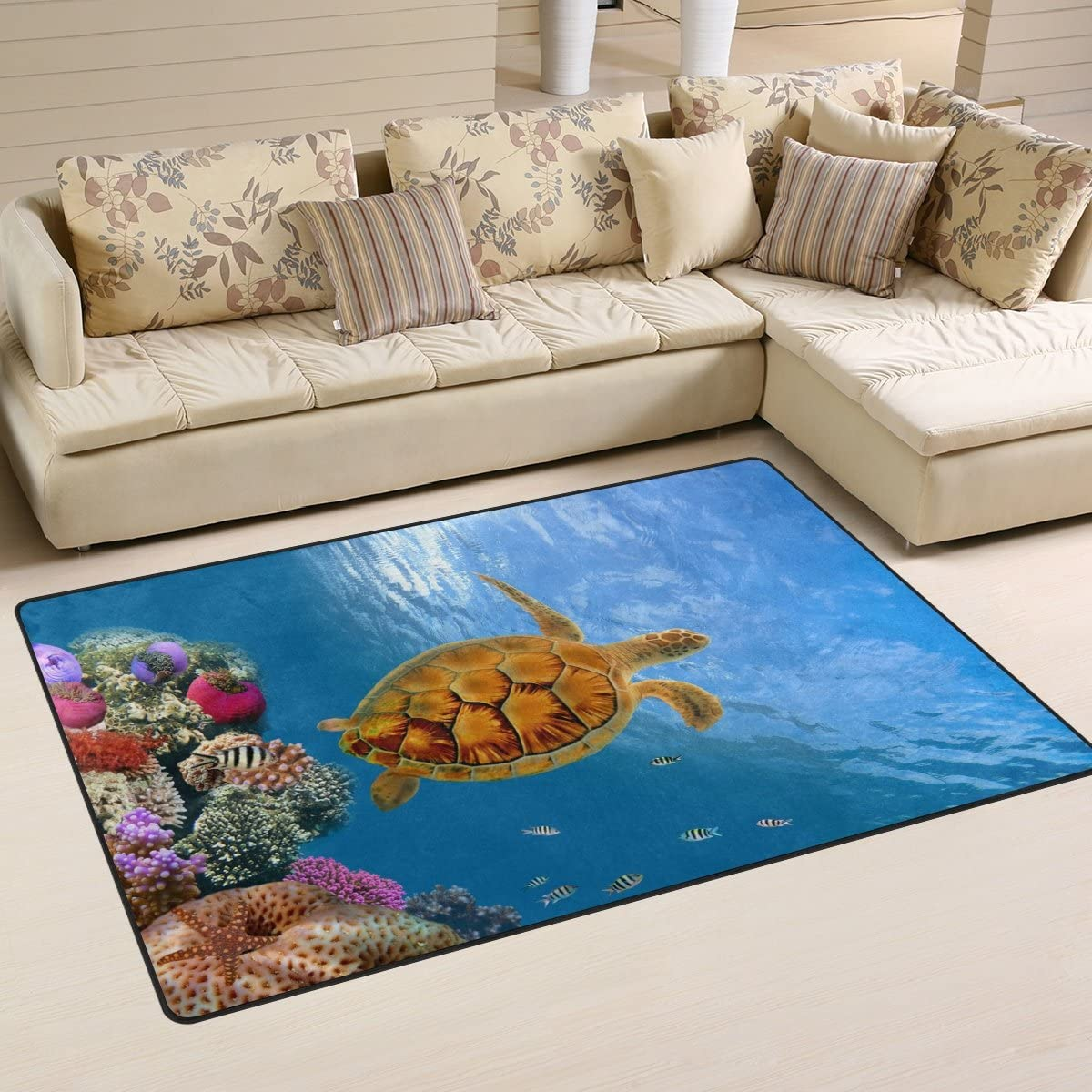 WOZO Coral Reef Sea Turtle Under Water World Area Rug Rugs Non-Slip Floor Mat Doormats Living Dining Room Bedroom Dorm 60 x 39 inches inches Home Decor