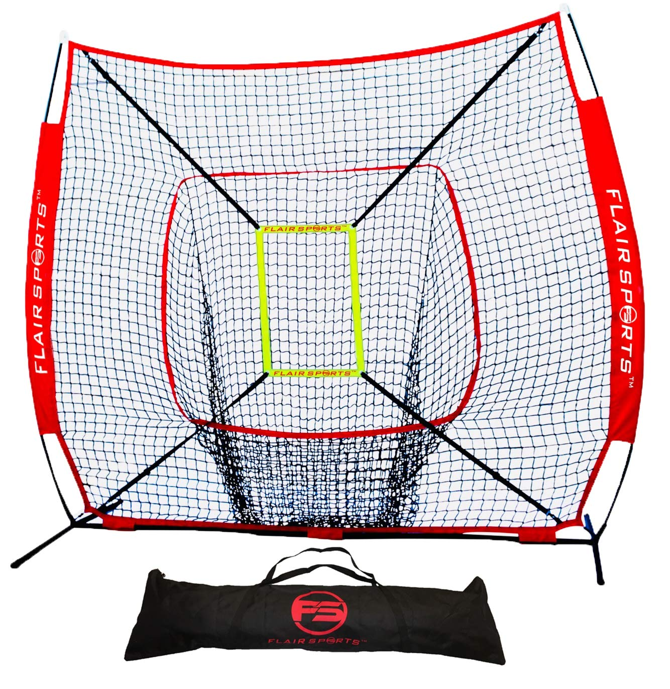 Flair Sports Baseball & Softball Net for Hitting & Pitching | Heavy Duty 7x7 Pro Series | Indoor & Outdoor Training Net | Bow Frame + Bonus Strike Zone Included (Red, Red)