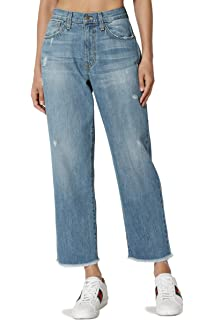 e31b450a2245d TheMogan Distressed Girlfriend Straight Relaxed Roll Up Jeans in Light Blue  Wash