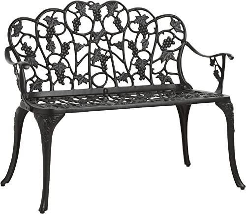Outdoor Grapevine Bench for Yard, Garden, Patio, Powder Coated Cast Aluminum Frame, 2 Person Seat 41.75 W x 20.75 D x 33.5 H – Black