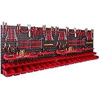 Opbergsysteem wandrek 230 x 78 cm, met gereedschapshouders, 46 stuks Stapelbakken, opslagrek, extra sterke wandplaten…