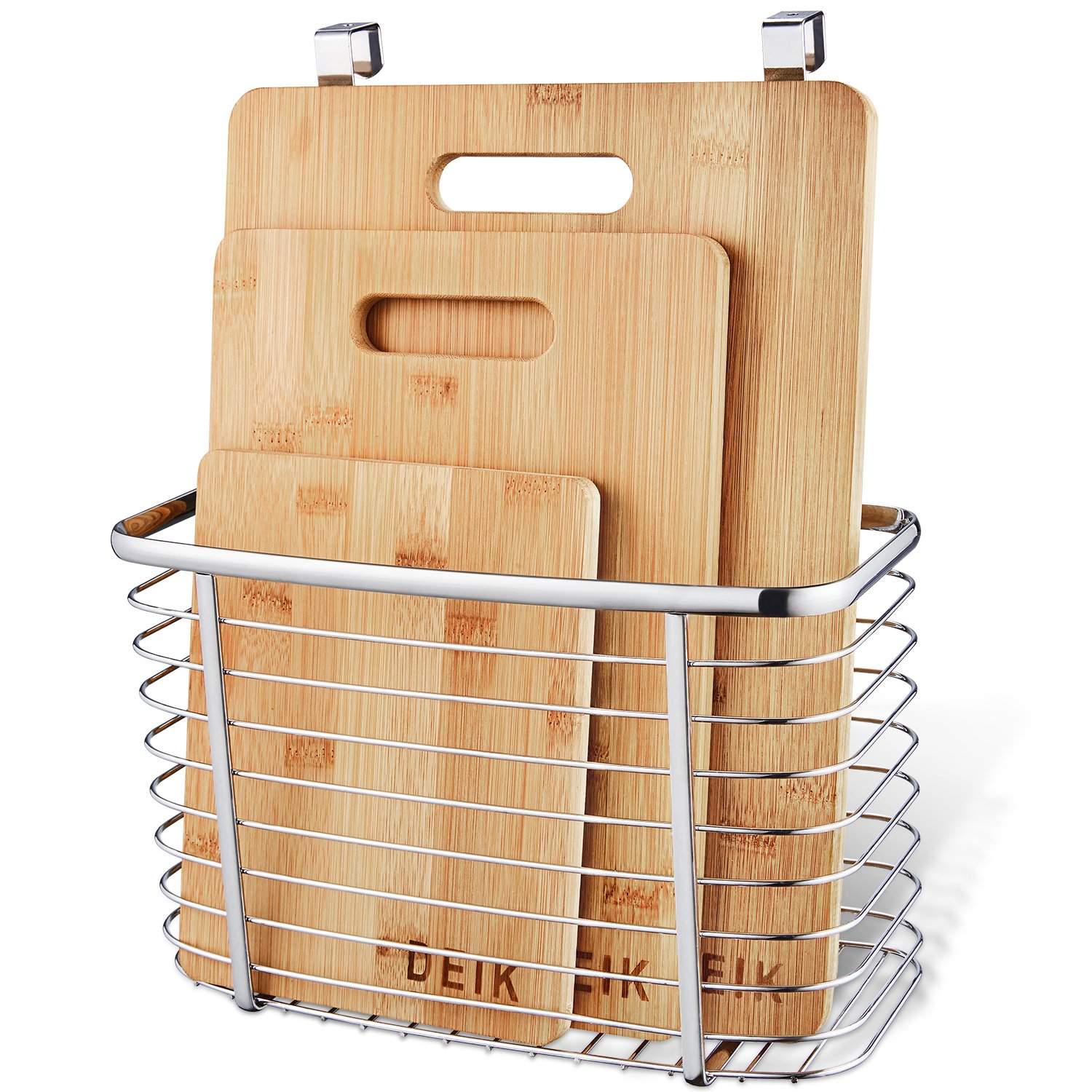 Cutting Board, DEIK Bamboo Cutting Board Set, Kitchen Chopping Board Set of 3 Packed with A Stainless Steel Storage Wire Basket Holder, Organic and Anti-bacteria by DEIK