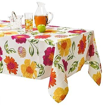 Benson Mills Lola Indoor Outdoor Spillproof Stain Resistant Tablecloth  (Magenta, 60u0026quot; ...