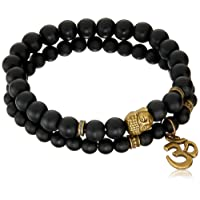 Young & Forever Navratri Jewellery & Diwali Gifts for Family and Friends D'vine Set of 2 Yoga & Meditation Om Charm Buddha Reiki Beads Bracelet