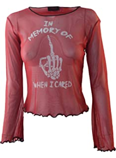 e5bf45058 In Memory Of When I Cared Genuine Darkside Red Fine Net Cropped Gothic Mesh  Top One