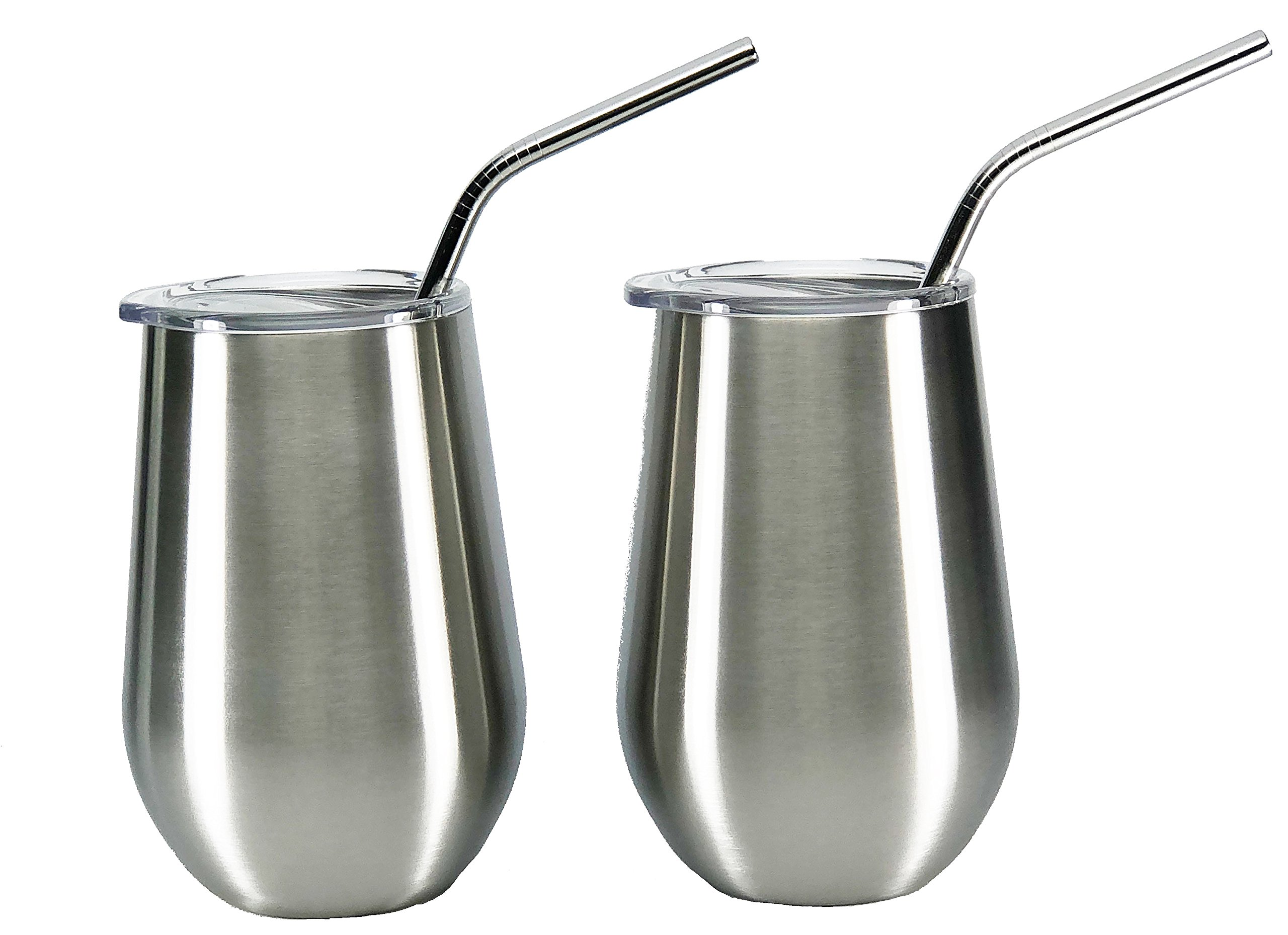 Insulated Double Walled and Vacuum Sealed Stemless 12 oz Stainless Steel Elegant Wine Glass Tumbler Set of 2 with Lids and Stainless Steel Straws - No Sweat- No Seams - Dishwasher safe