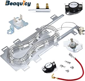 Beaquicy 8544771 Dryer Heating Element Assembly with 279973 3392519 Thermal Fuse with 279816 Thermal Fuse & Thermostat Kit - Replacement for Kenmore Whirlpool Roper Dryer