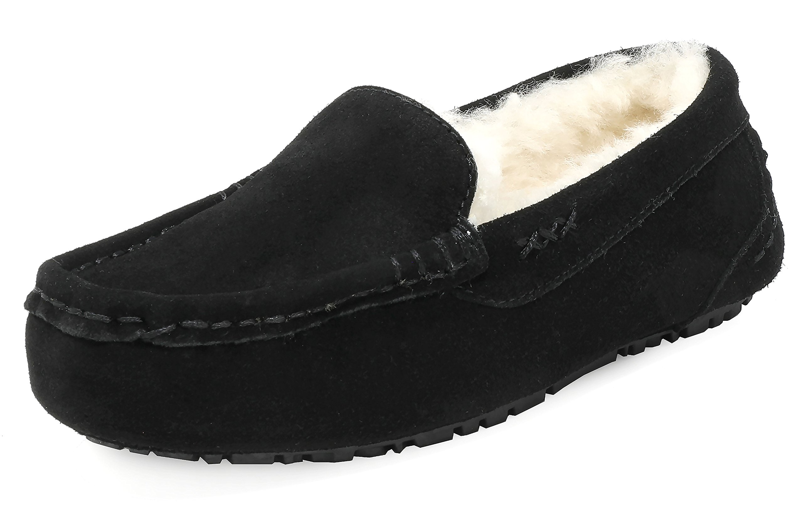 DREAM PAIRS Women's Auzy-01 Black Faux Fur Slippers Loafers Shoes Size 7.5-8 B(M) US