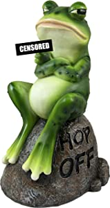 DWK - Froggie's Bad Day - Adorable Indoor Outdoor Flip Off Frog on Stone Rock with Hop Off Message Middle Finger Figurine Grumpy Toad Home Decor Accent Garden Patio Accessory, 7.75-inch…