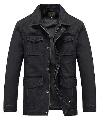 51e0552f31b Heihuohua Men s Casual Flat Collar Cotton Jacket Military Lightweight  Windbreaker