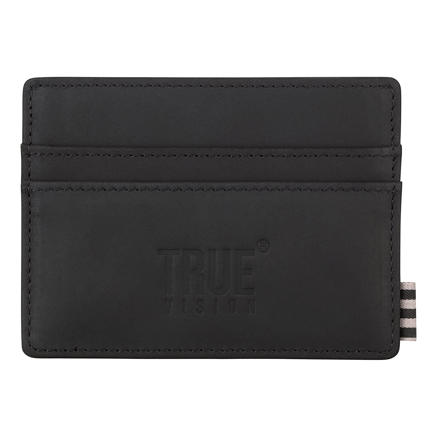 TRUE VISION RFID Blocking Leather Card Wallet for Men - Slim Nubuck Top Grain Black Leather Credit Card Wallet with Cotton Lined Compartments for Notes - Includes Gift Box. TRUECARDWALLETLEATHERBLACK