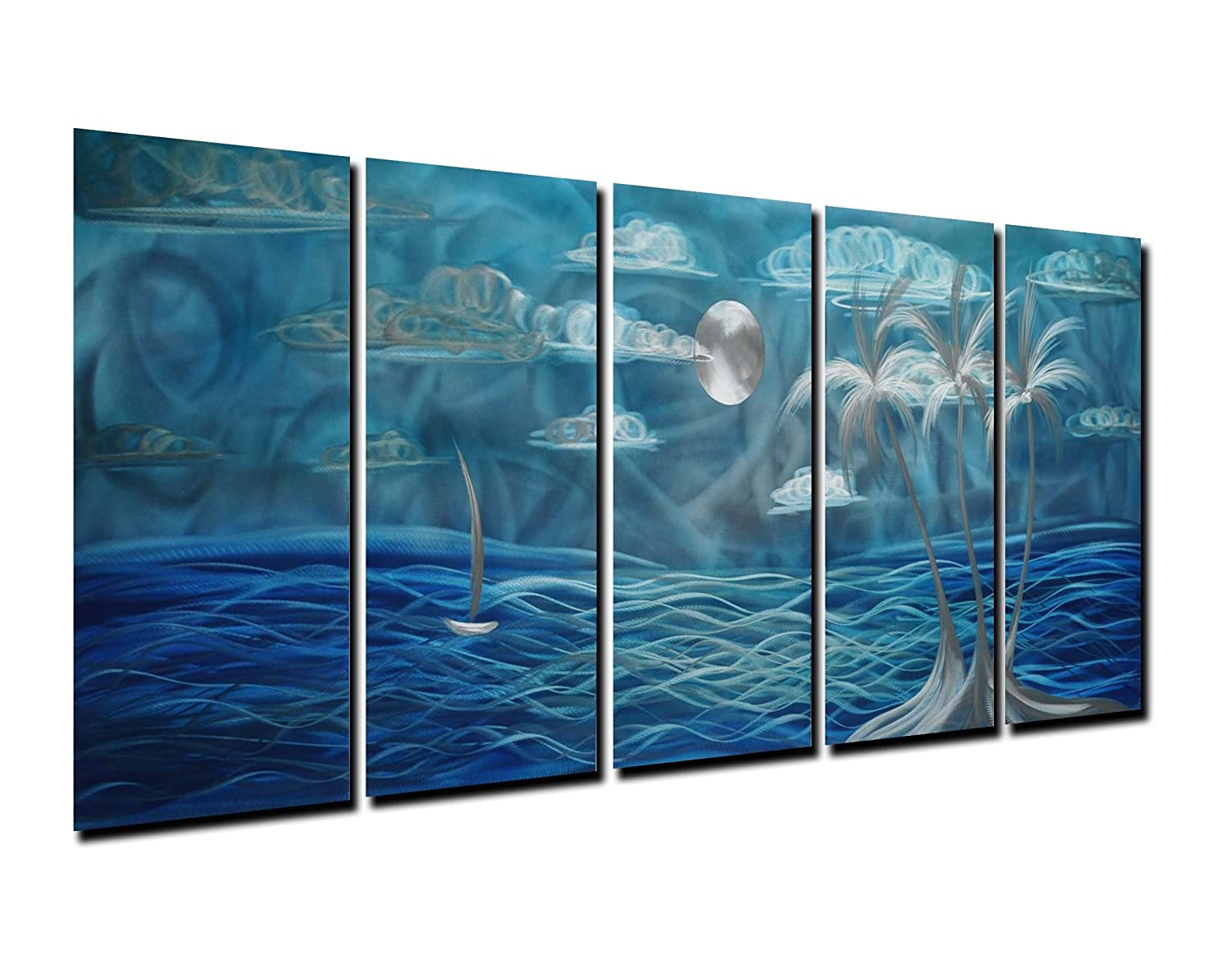 Amazon com winpeak pure handmade metal wall art home decor blue seascape painting abstract modern sculpture contemporary decorative 5 panels aluminum
