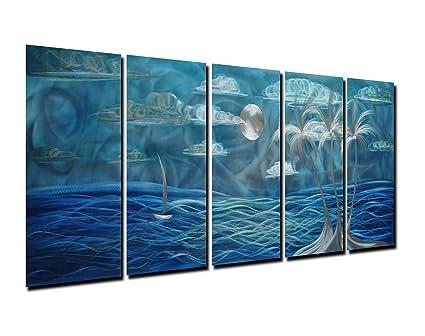 Amazon.com: Winpeak Pure Handmade Metal Wall Art Home Decor Blue ...
