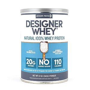 Designer Whey Protein Powder, Purely Unflavored, 12 Oz, Non Gmo,Made in the USA