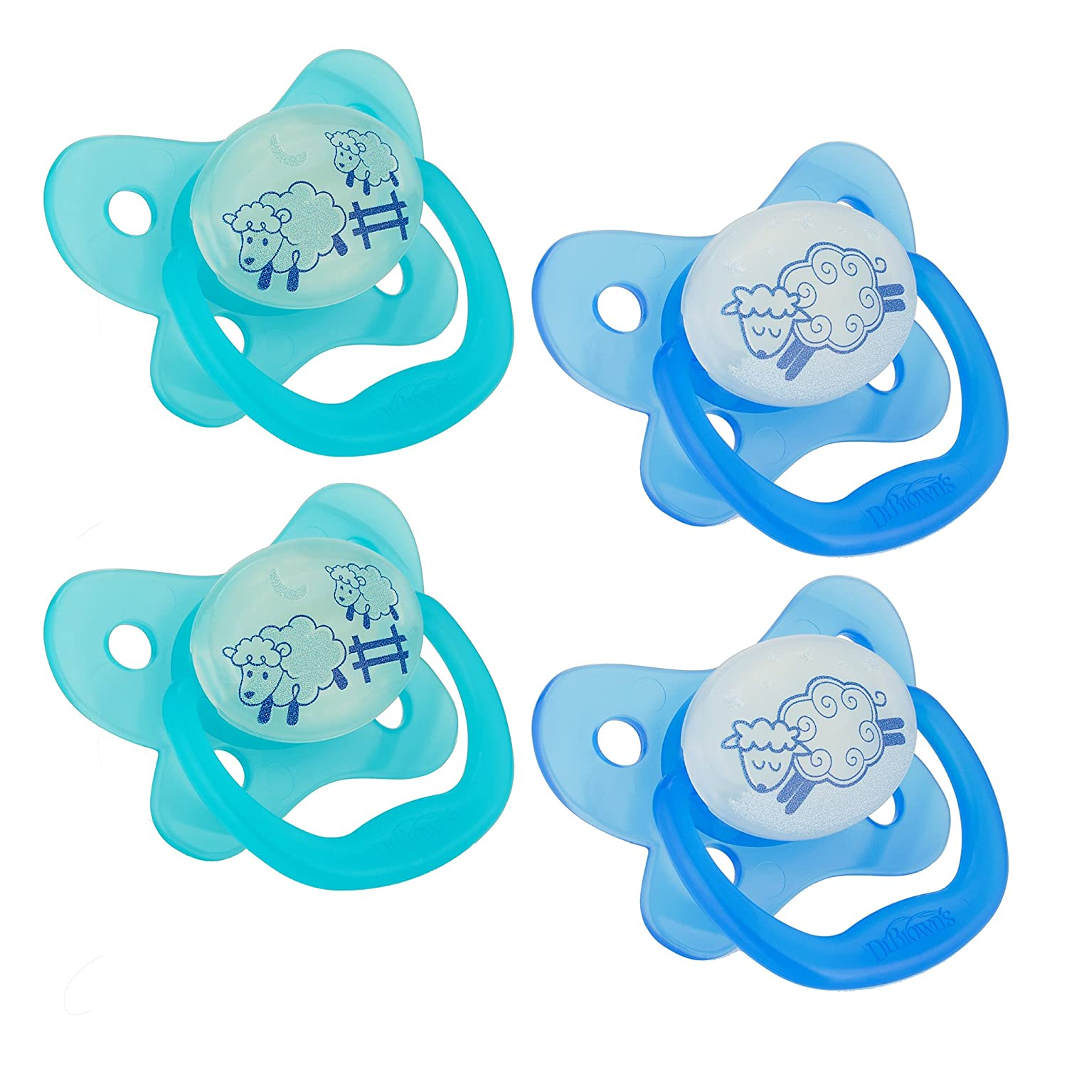 Dr. Browns PreVent Contour Glow in the Dark Pacifier, Stage 1 (0-6m), Blue, 4-Count