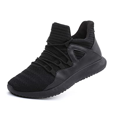 ec6e1cfec8 fereshte Men s Lightweight Fashion Sports Sneakers Gym Walking Trainers Running  Shoes Black EU37