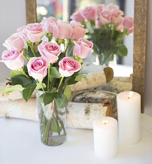 Amazon.com : KaBloom Sweet Pink Bouquet Of 12 Fresh Cut Pink Roses ...