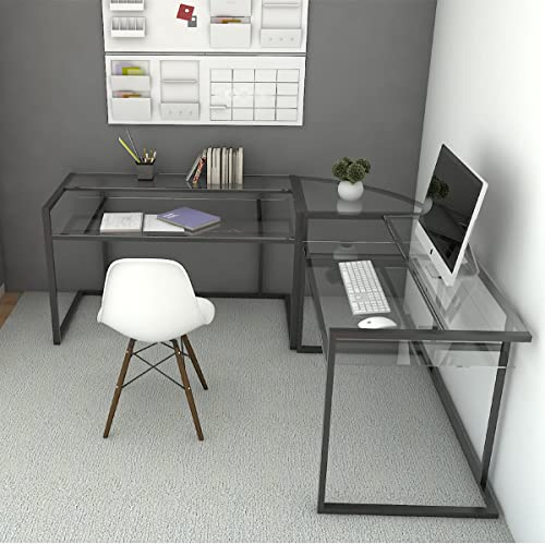 Ryan Rove Belmac Glass Large Modern L-Shaped Desk Corner Computer Office Desk