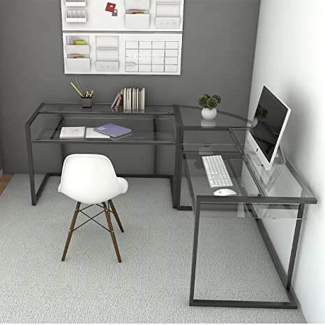 Ryan Rove Belmac Glass Large Modern L-Shaped Desk Corner Computer Office  Desk for Small PC Laptop Study Table Workstation Home Office with Keyboard  ...