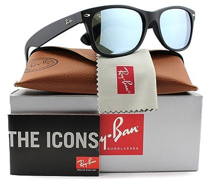 5f9c702071 Ray-Ban RB2132 Large New Wayfarer Sunglasses Matte Black w Silver Mirror  (622 30) 2132 62230 55mm Authentic  Amazon.co.uk  Clothing