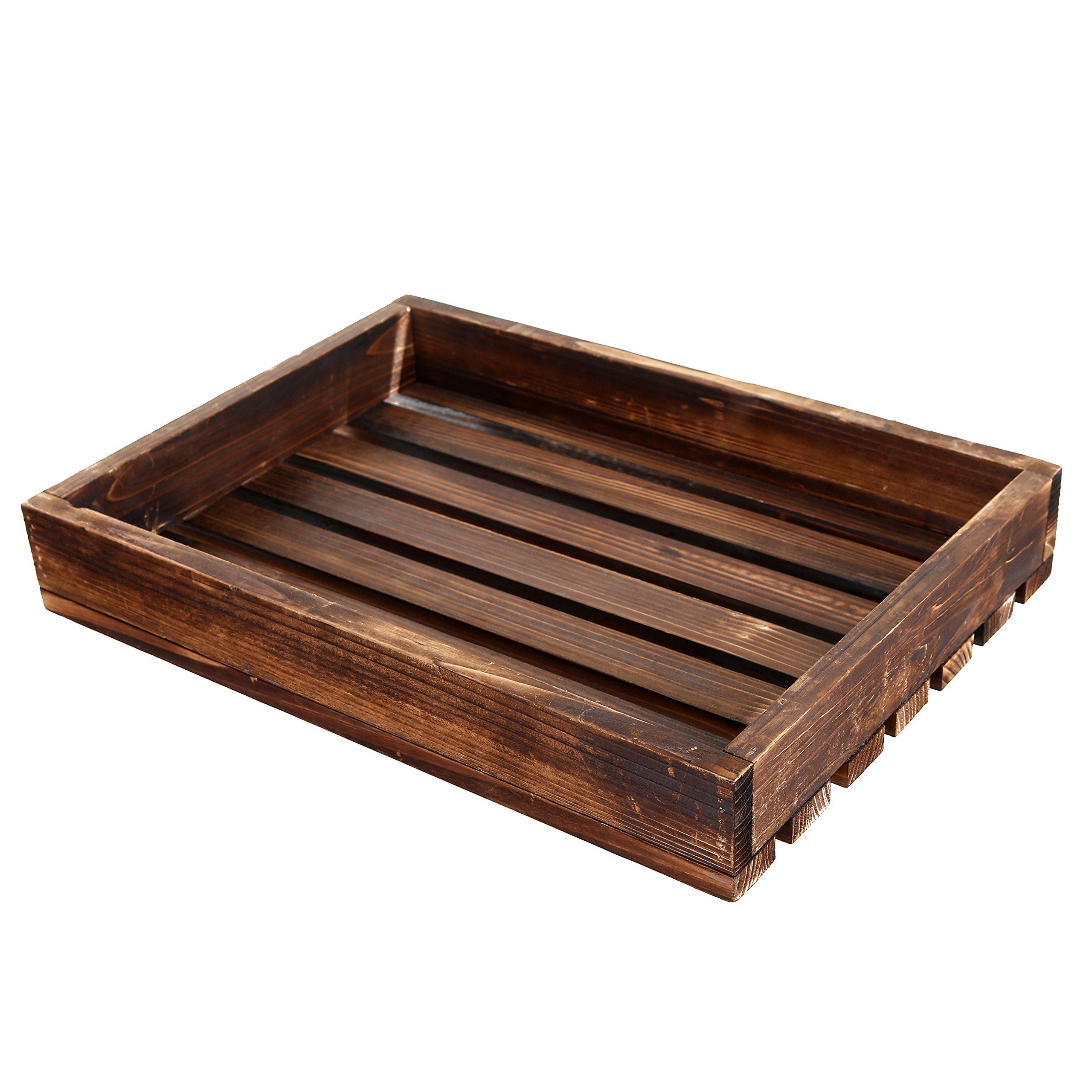 Country Rustic Style Wood Slat Breakfast Serving Tray, Rectangular Display Stand, Dark Brown