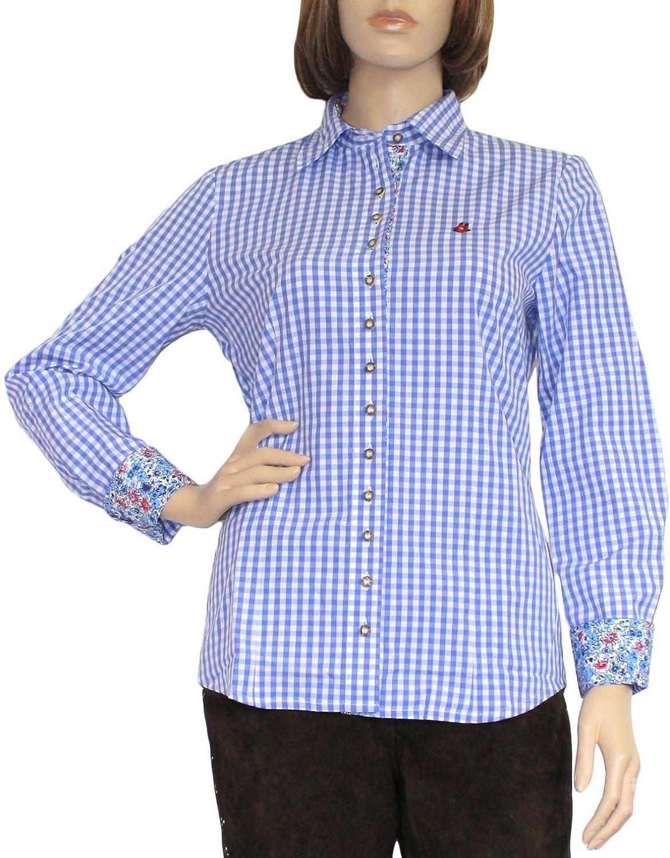 Trachtenbluse Damen Trachten lederhosen-bluse Trachtenmode jeansblau kariert