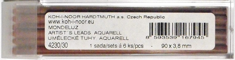 Reddish Brown KOH-I-NOOR Aquarell Coloured Leads for 3.8mm Diameter 90mm Mechanical Pencil