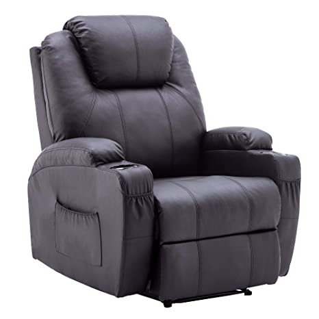 Surprising Power Recliner Massage Ergonomic Sofa Vibrating Heated Lounge Chair Faux Leather Dual Cup Holders 7050 Black Interior Design Ideas Oxytryabchikinfo