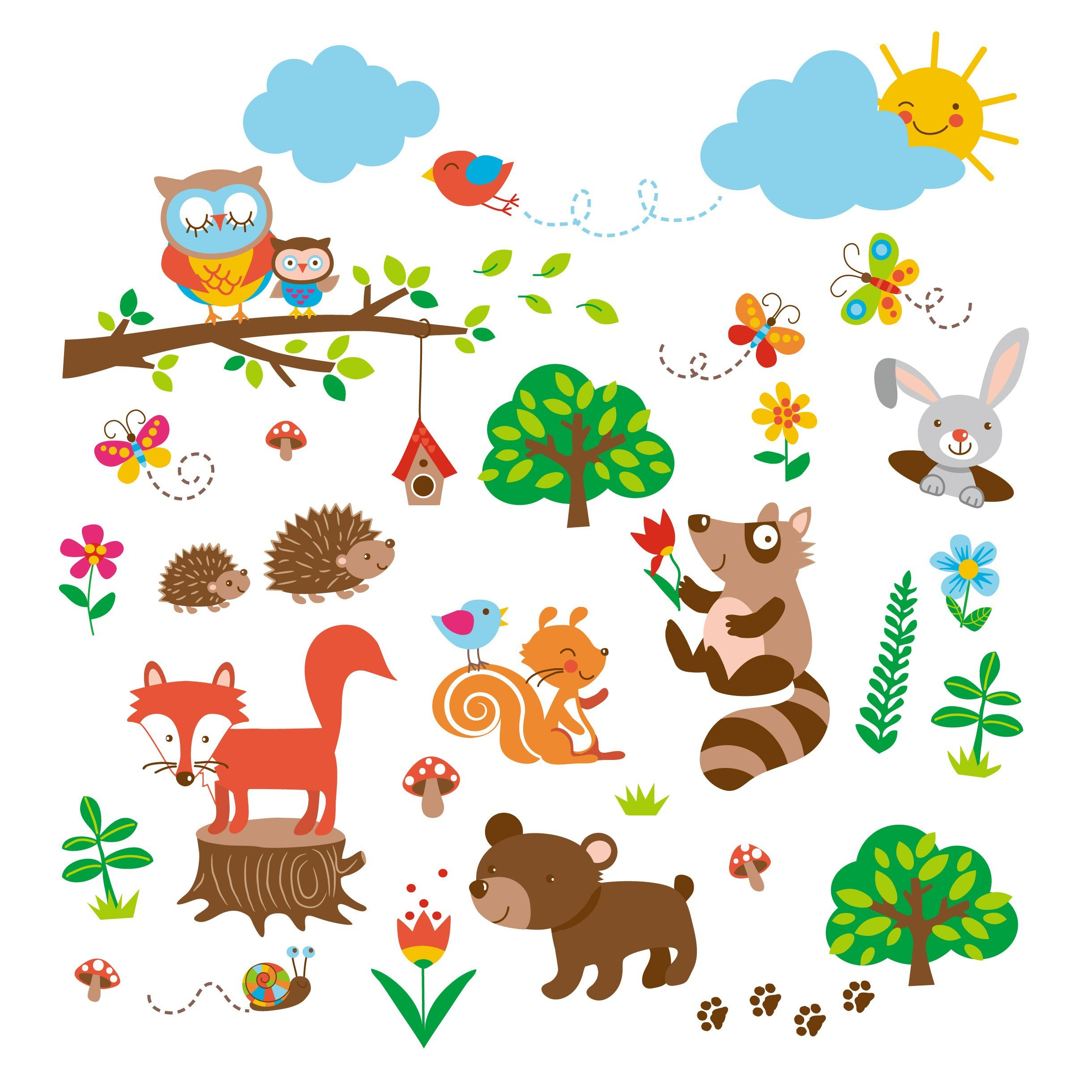 Amazon Charming Woodland Giant Peel Stick Wall Art Sticker