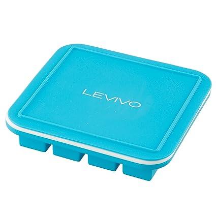 LEVIVO Molde para 16 Cubitos de Hielo, Silicona, Azul, 15x15x3 cm