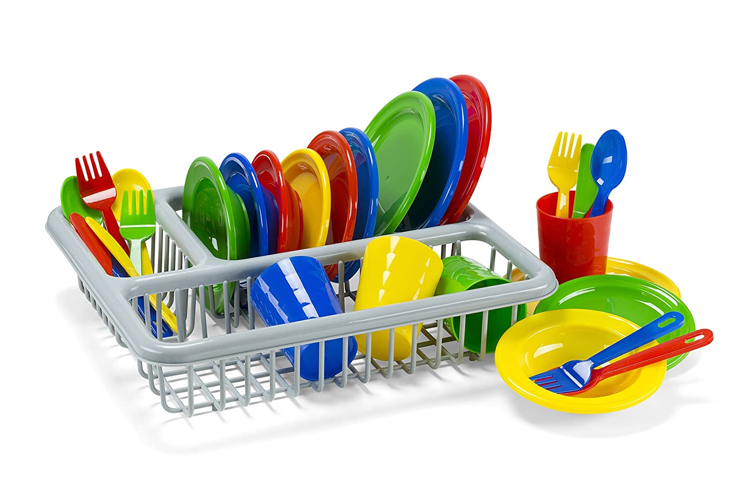 Kidzlane Durable Kids Play Dishes - Pretend Play Childrens Dish Set - 29 Piece with Drainer