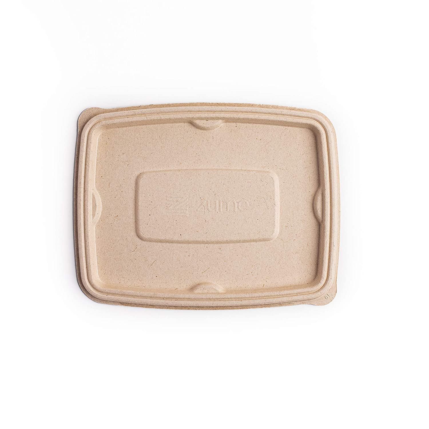 Zume Premium Compostable, Eco Friendly, Disposable, 24 oz-32oz/750ml-1000ml Rectangular Container Lid, Natural (Pack of 100)