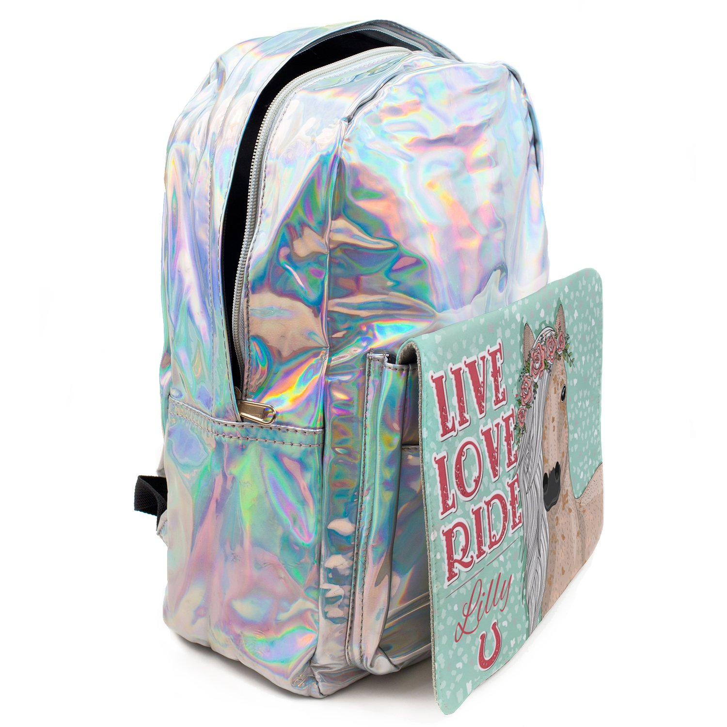 Personalised Girls Backpack CUTE HORSE Holographic Shiny Silver School Bag KS150