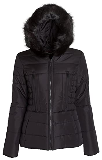2716deae657 Sportoli Junior Women s Rouched Detail Winter Coat Hooded Short Puffer  Jacket ...