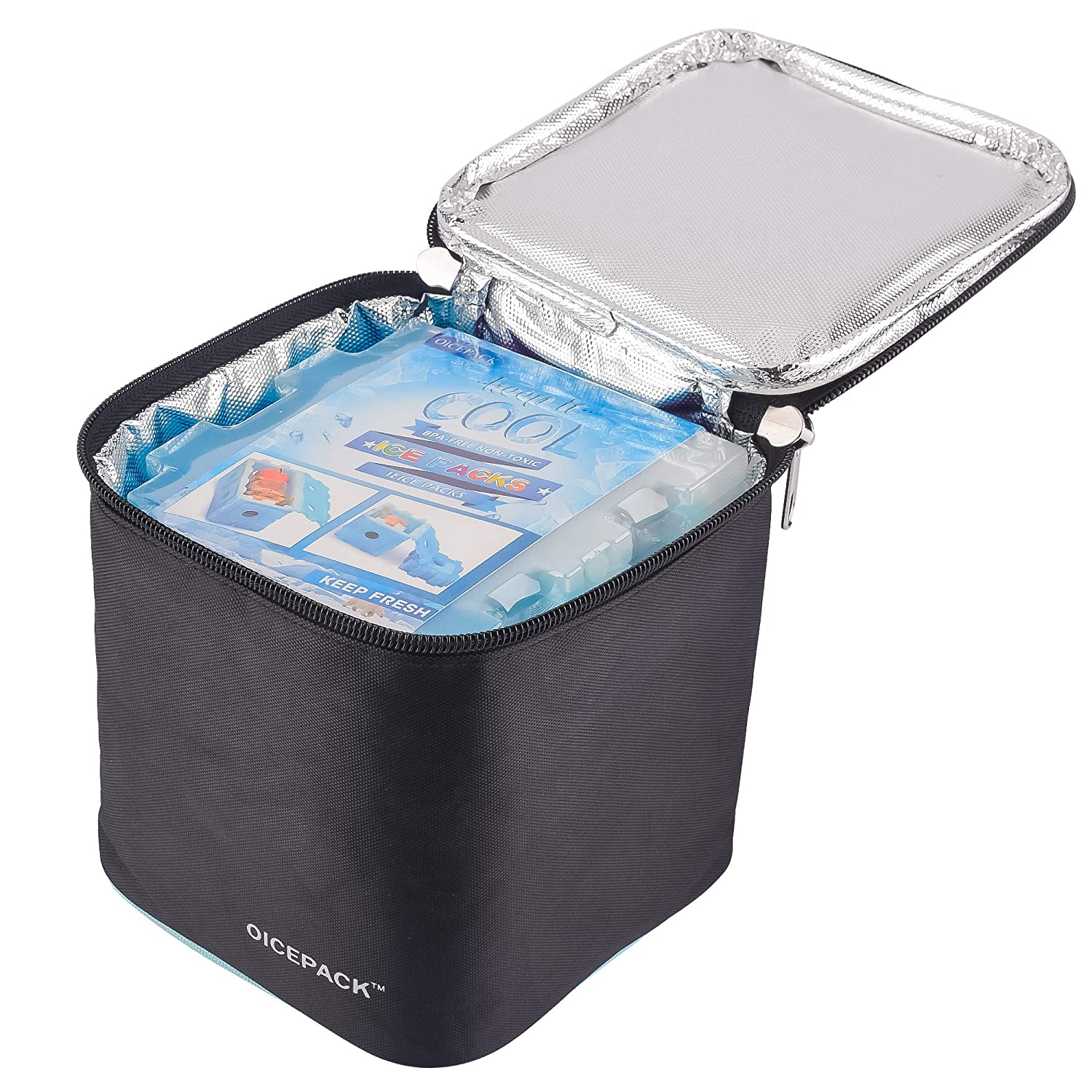 OICEPACK Ice Packs Cool Pack for Lunch Box Stackable Freezer Packs for Lunch Bags Gel Ice Packs with Slim Design Fit all Kinds of Coolers and Lunch Totes Super Value Sets 4PCS