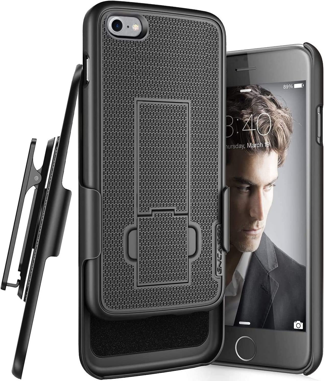 Encased iPhone SE Belt Clip Case (2020 DuraClip) Slim Cover with Holster Black