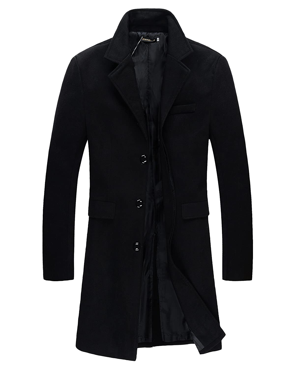 Benibos Mens Trench Coat Autumn Winter Long Jacket Overcoat