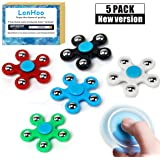 LonHoo 5 Pack Fidget Hands Spinner Toy Stress Reducer, Ultra Fast Bearings, Finger Toy, - Perfect For ADD, ADHD, Anxiety, and Autism Adult Children for Killing Time (Random Color)