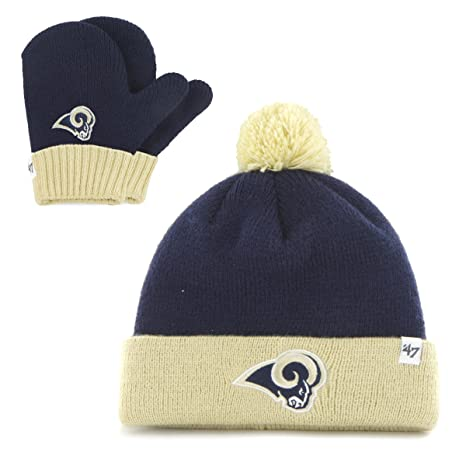finest selection 94163 51a38 Image Unavailable. Image not available for. Color  NFL St. Louis Rams  Toddler  47 Brand Bam Bam Cuff Knit Pom Hat and