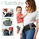 TushBaby The Only Safety Certified Hip Seat Baby Carrier - Large Storage Pockets, Adjustable, Machine Washable, Ergonomic Child + Infant + Toddler Carrier, Safe + Ultra-Comfortable Waist Carrier Grey