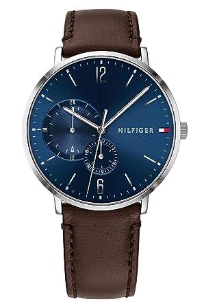 Tommy Hilfiger Reloj Multiesfera para Hombre de Cuarzo con Correa en Cuero 1791508: Amazon.es: Relojes