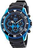 ICE-Watch - Montre Mixte - Quartz Analogique - Ice-Chrono Electrik - Black - Blue - Big Big - Cadran Noir - Bracelet Silicone Noir - CH.KBE.BB.S.12