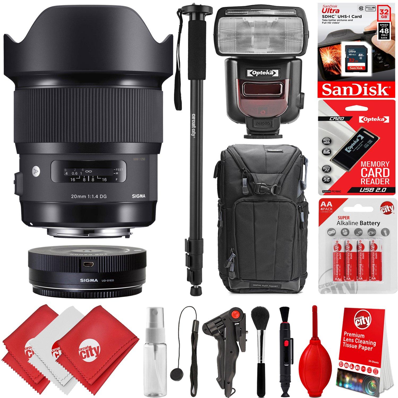 Sigma 20 mm f1 . 4 DG HSM Artレンズfor Canon EOS EF DSLRカメラ+ 16 GB 17pcバンドルfor 80d、77d、70d、60d、60da、50d、7d、6d、5d、5ds、1ds、t7i、t7s、t7、t6s、t6i、t6、t5i、t5、sl2 and sl1   B07BS1HWMT