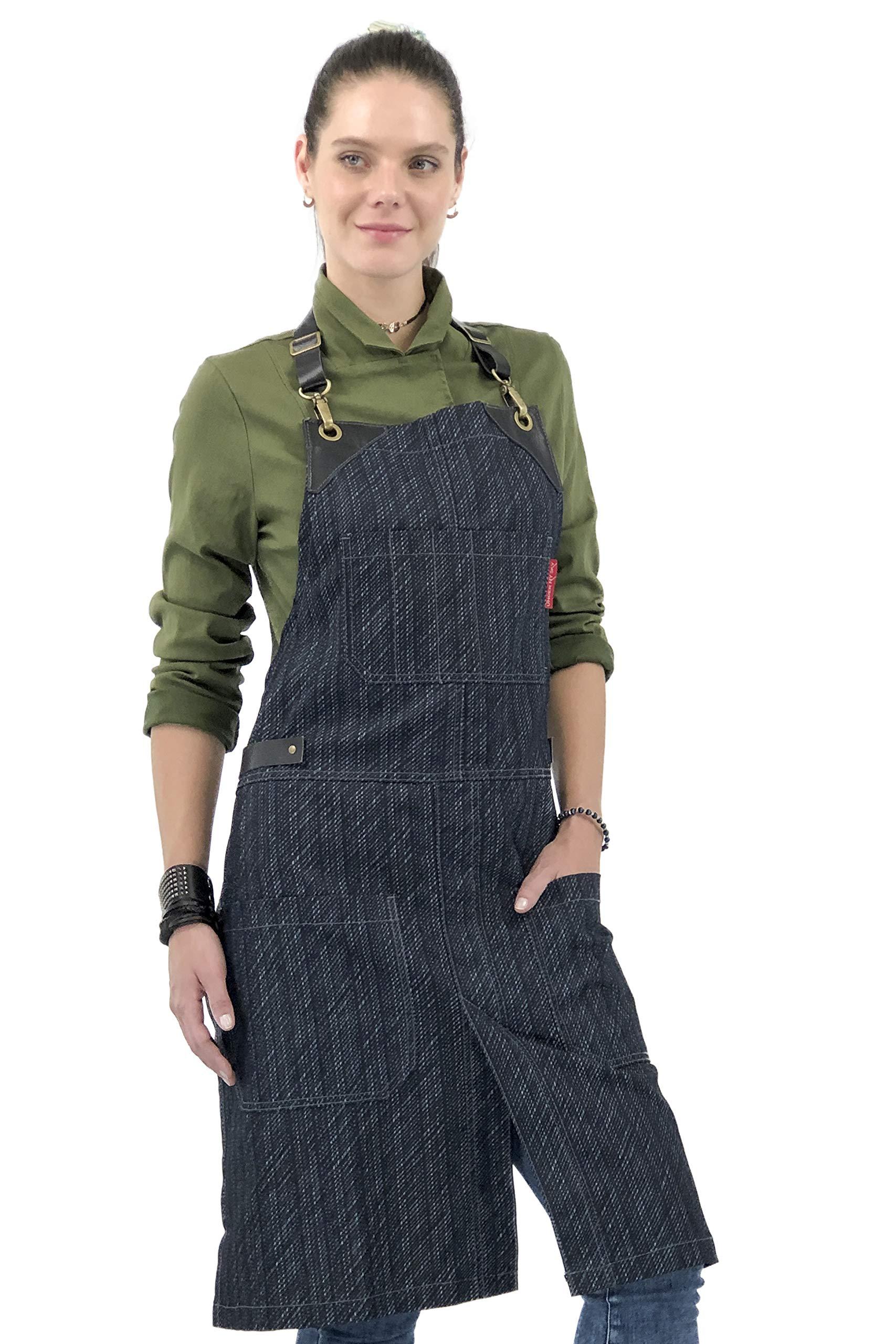 Under NY Sky Dark Blue Stripe Denim Apron - Full Grain Leather Straps - No-Tie, Split-Leg, Adjustable for Men, Women - Pro Chef, Kitchen, Tattoo Artist, Barista, Bartender, Server, Barber, SaloN by Under NY Sky