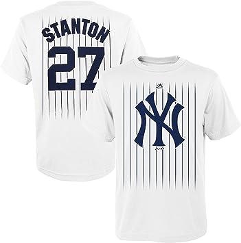 OuterStuff Giancarlo Stanton New York Yankees #27 Camiseta juvenil con nombre y número blanco, M, Blanco: Amazon.es: Deportes y aire libre