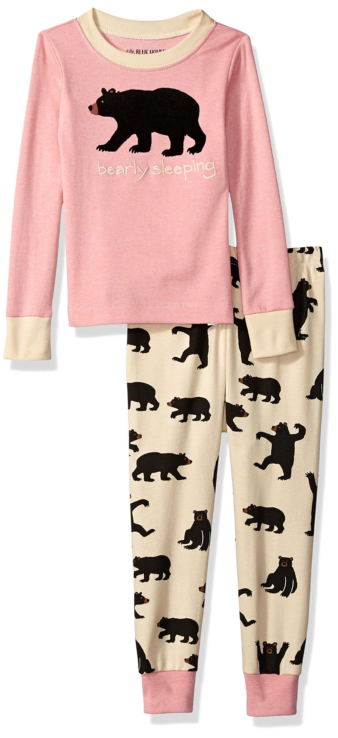Little Blue House by Hatley Big Kids Bear Family Pajamas, Kid's Long Sleeve Pajama Set/Black Bear on Pink/Bearly Sleeping, 10 Years