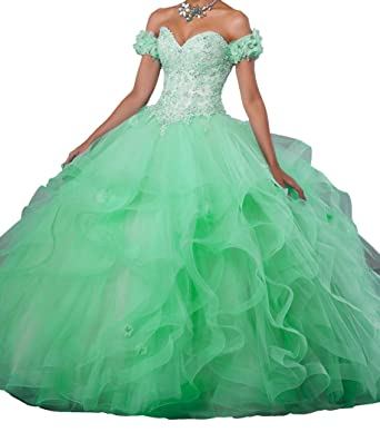 8ae44febca DengFeng Women s Off The Shoulder Appliques Beaded Prom Sweet 15  Quinceanera Dresses 0 US Green