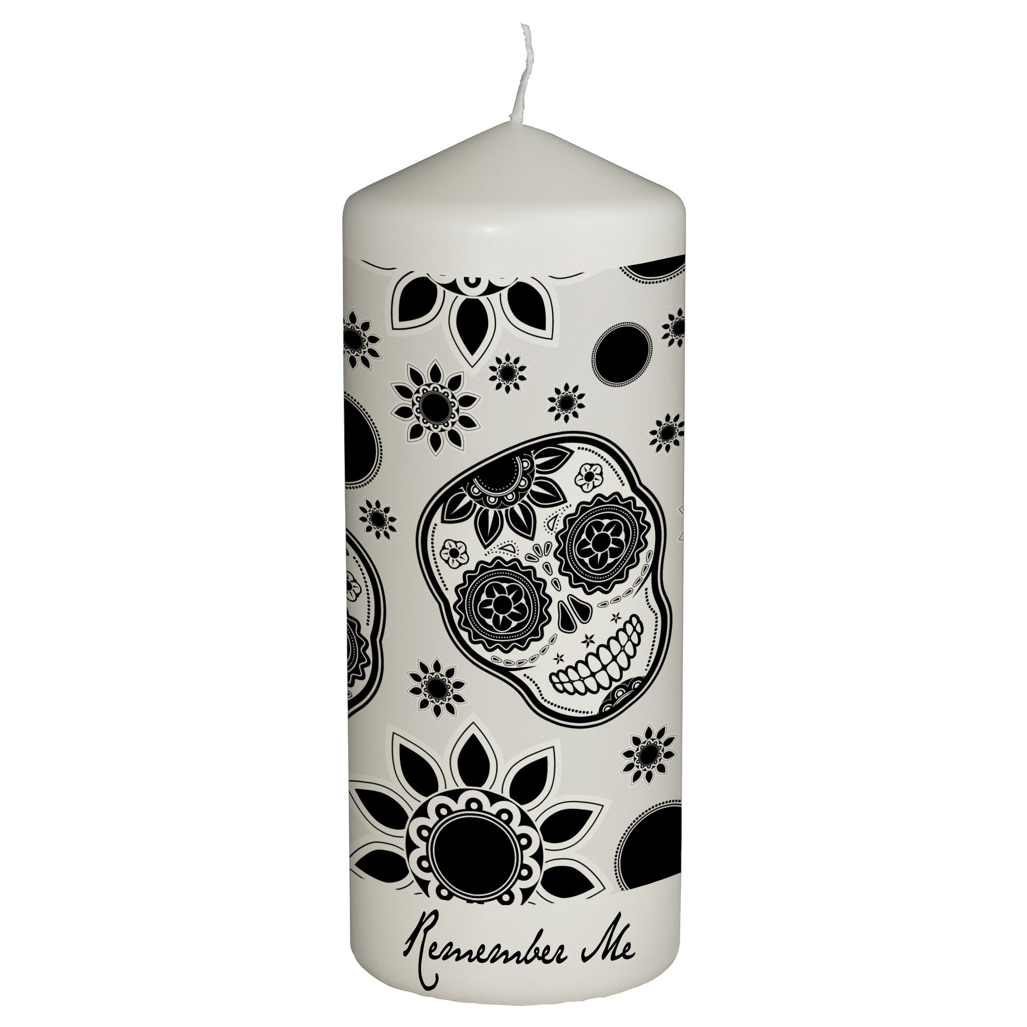 Hat Shark Remember Me Celebration Candle for Day of the Dead - Dia De Los Muertos - Printed in Full Color 6 Inches Tall (Black and White)