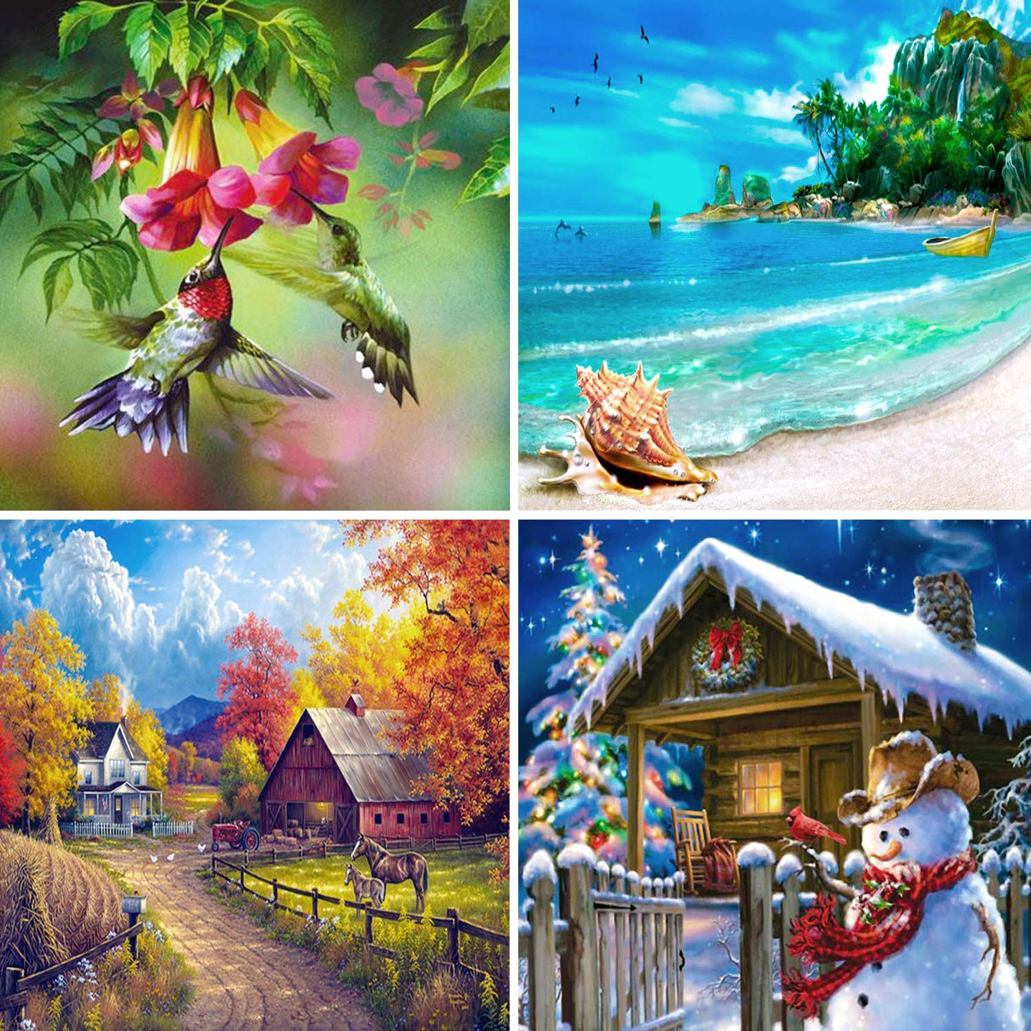 Aneco 4 Pack 5D DIY Diamond Painting by Number Kits Full Drill Cross Stitch Rhinestone Embroidery Paintings Four Seasons Pictures for Home Decoration